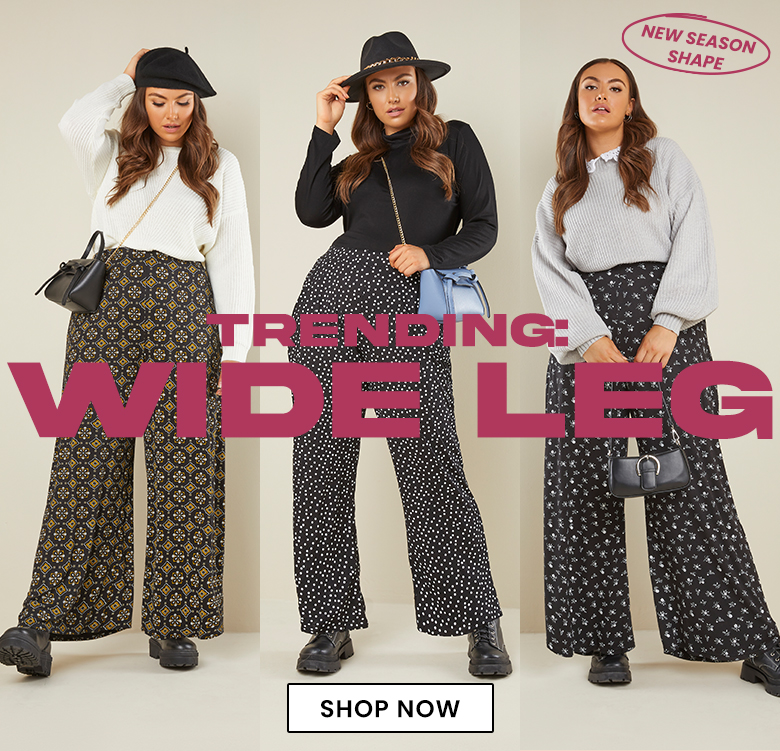 Plus size wide leg trousers